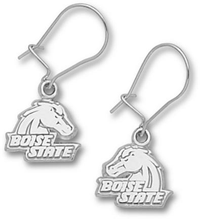 "Boise State Broncos 3/8″ ""Boise State"" Bronco Head Dangle Earrings – Sterling Silver Jewelry"