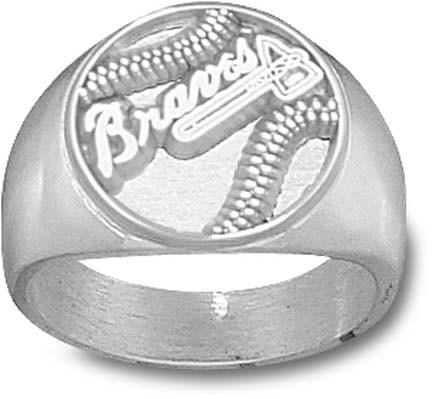 Atlanta Braves Pierced Baseball Mens Ring Size 10 12  Sterling Silver Jewelry