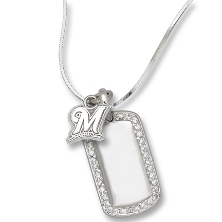 """Milwaukee Brewers 3/8"""" """"M"""" on Sterling Silver Mini Dog Tag Necklace"""