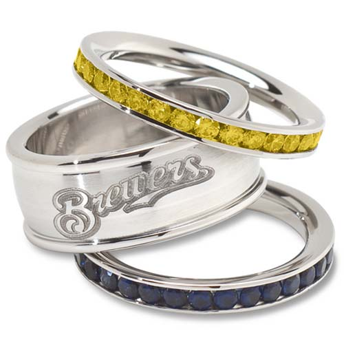 Milwaukee Brewers Logo Crystal Stacked Ring Set (Size 8)