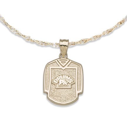 Boston Bruins 5/8in Jersey with Bear Pendant on an 18in Chain - 10KT Gold Jewelry