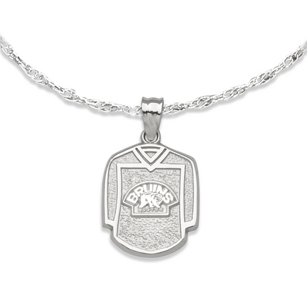 Boston Bruins 5/8in Jersey with Bear Pendant on an 18in Chain - Sterling Silver Jewelry