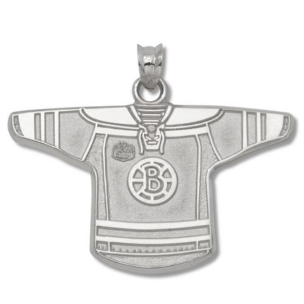 Boston Bruins 3/4in 'B' NHL Winter Classic Jersey Pendant - Sterling Silver Jewelry