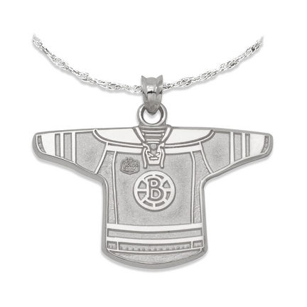 Boston Bruins 3/4in 'B' Logo NHL Winter Classic Jersey Pendant on an 18in Chain - Sterling Silver Jewelry