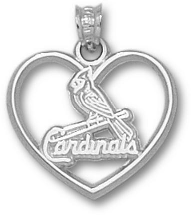 St. Louis Cardinals One Bird Heart Pendant - Sterling Silver Jewelry