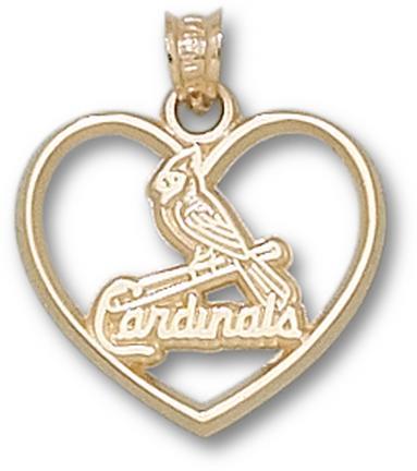 St. Louis Cardinals One Bird Heart Pendant - 14KT Gold Jewelry