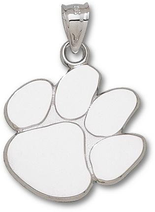Clemson Tigers Polished Paw 1 Pendant Sterling Silver Jewelry