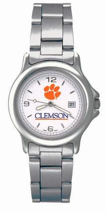 Clemson Tigers NCAA Womens Chrome Varsity Watch with Stainless Steel Strap