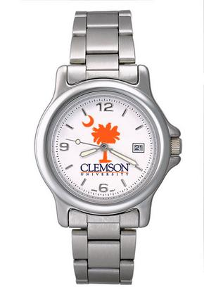 Clemson Tigers NCAA Palmetto Mens Chrome Varsity Watch with Stainless Steel Strap