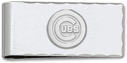 """Chicago Cubs 5/8"""" Sterling Silver """"C Cubs"""" on Nickel Plated Money Clip"""