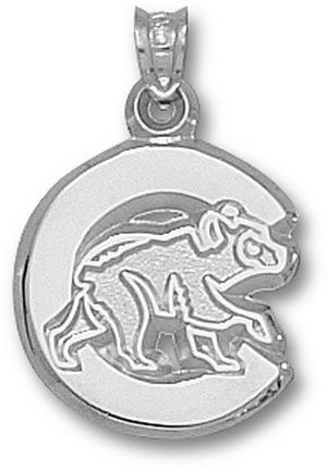 Chicago Cubs Polished C With Bear 5/8 Pendant Sterling Silver Jewelry