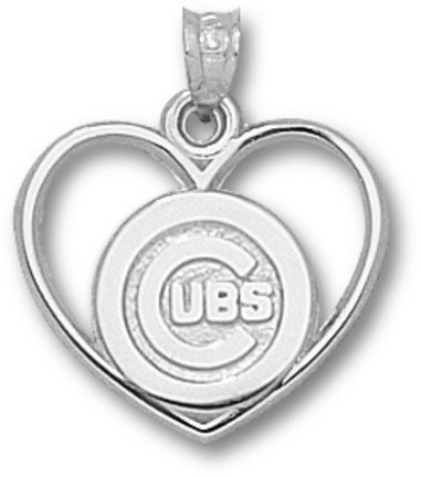Chicago Cubs 'C Cubs Heart' Pendant - Sterling Silver Jewelry