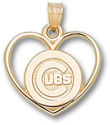 Chicago Cubs 'C Cubs Heart' Pendant - 14KT Gold Jewelry