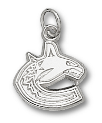 Vancouver Canucks C Whale Logo 3/8 Charm - Sterling Silver Jewelry