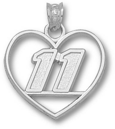 """Denny Hamlin """"11 in Heart"""" Pendant - Sterling Silver Jewelry"""