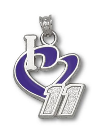 Denny Hamlin 3/4 I Heart 11 Enamel Pendant Sterling Silver Jewelry