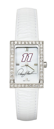 Denny Hamlin #11 Women's Allure Watch with White Leather Strap