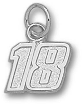 Kyle Busch Small Driver Number 18 3/8 Charm - Sterling Silver Jewelry