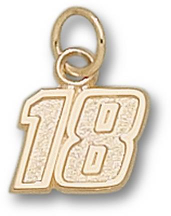 Kyle Busch Small Driver Number 18 3/8 Charm - 14KT Gold Jewelry