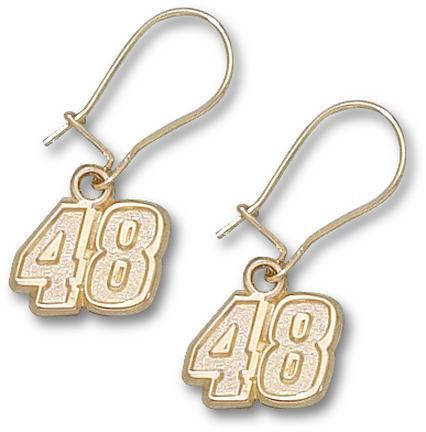 Jimmie Johnson 5/16in Small #48 Dangle Earrings - 10KT Gold Jewelry