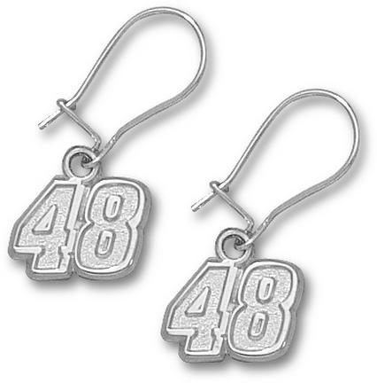 Jimmie Johnson 5/16in Small #48 Dangle Earrings - Sterling Silver Jewelry
