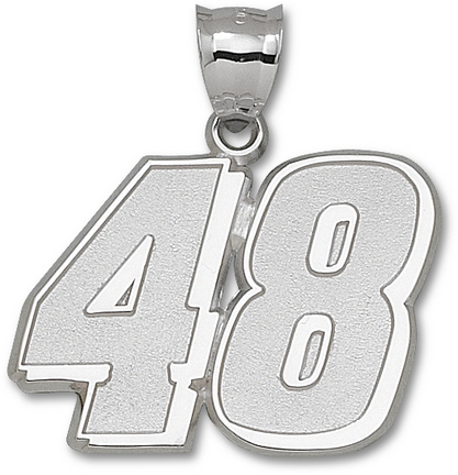 Jimmie Johnson Giant Driver Number '48' 1 1/2in Pendant - Sterling Silver Jewelry