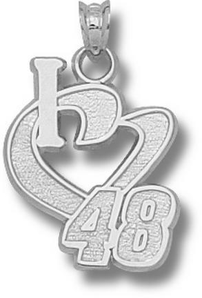 Jimmie Johnson 3/4in 'I Heart 48' Pendant - Sterling Silver Jewelry