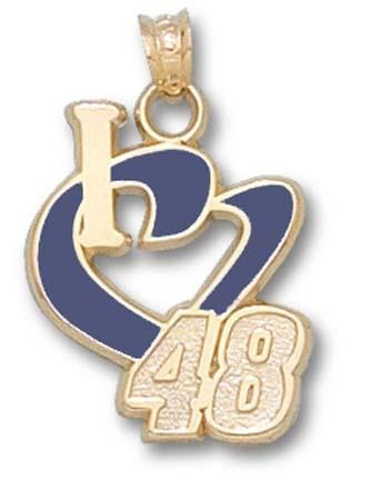 Jimmie Johnson 3/4in 'I Heart 48' Enamel Pendant - 10KT Gold Jewelry