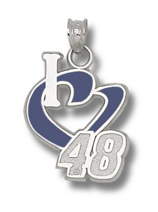 Jimmie Johnson 3/4in 'I Heart 48' Enamel Pendant - Sterling Silver Jewelry