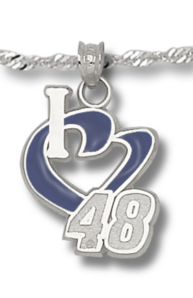 Jimmie Johnson 3/4in 'I Heart 48' Blue Enameled Pendant on 18in Chain - Sterling Silver Jewelry