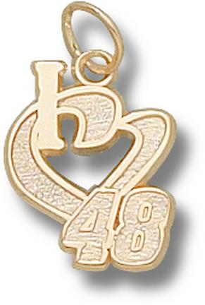 Jimmie Johnson 1/2in 'I Heart 48' Charm - 10KT Gold Jewelry