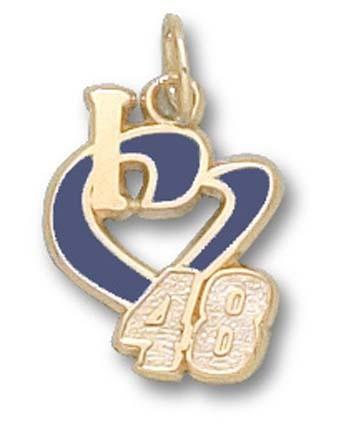 Jimmie Johnson 1/2in 'I Heart 48' Enamel Charm - 10KT Gold Jewelry