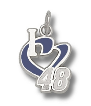 Jimmie Johnson 1/2in 'I Heart 48' Enamel Charm - Sterling Silver Jewelry