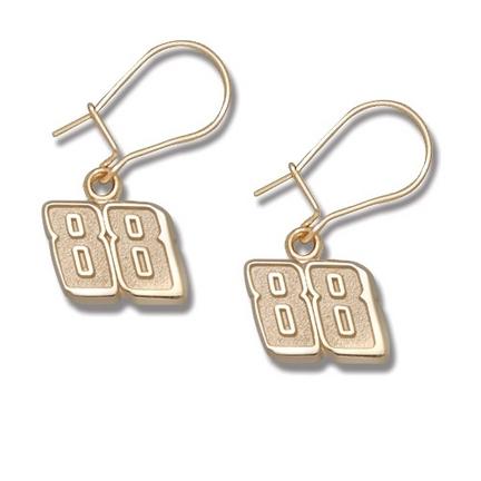 Dale Earnhardt, Jr. 3/8in Small '88' Dangle Earrings - 14KT Gold Jewelry