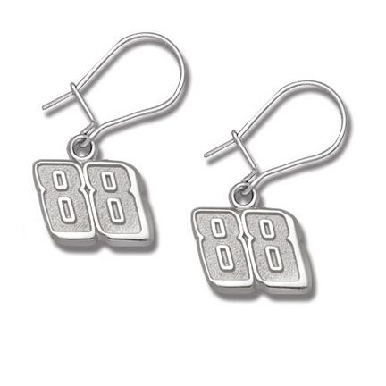 Dale Earnhardt, Jr. 3/8in Small '88' Dangle Earrings - Sterling Silver Jewelry