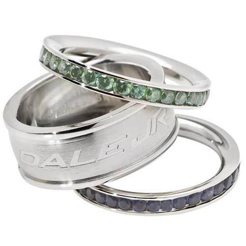 Dale Earnhardt Jr. Logo Crystal Stacked Ring Set (Size 6)