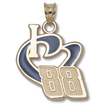 Dale Earnhardt, Jr. 3/4in 'I Heart 88' Blue Enameled Pendant - Gold Plated Jewelry