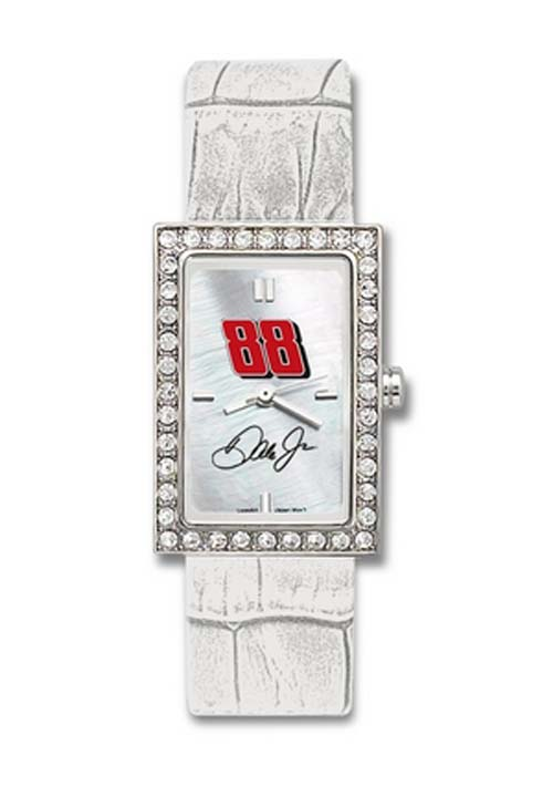 Dale Earnhardt Jr. #88 Women's Allure Watch with White Leather Strap