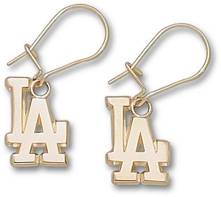 Los Angeles Dodgers 1/2in LA Dangle Earrings - 14KT Gold Jewelry