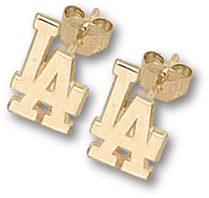 Los angeles dodgers gold earrings gold dodgers earrings for Media jewelry los angeles