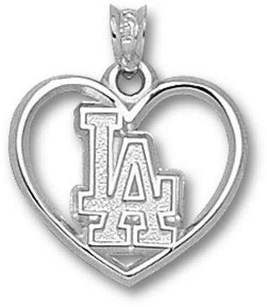 Los Angeles Dodgers LA Heart Pendant - Sterling Silver Jewelry