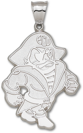 East Carolina Pirates Giant 1 1/2 W x 2 H Petey Pendant - Sterling Silver Je..