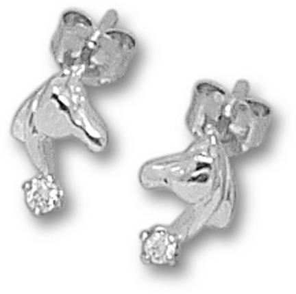 Small Facing Horse Head Post Earrings with 2.01 Cubic Zirconia - Sterling Si..