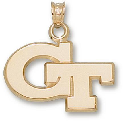 """Georgia Tech Yellow Jackets New """"GT"""" 5/8"""" Lapel Pin - 10KT Gold Jewelry"""