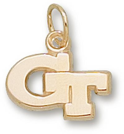 """Georgia Tech Yellow Jackets New """"GT"""" 3/8"""" Lapel Pin - 14KT Gold Jewelry"""