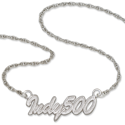 Indy 500 Sterling Silver Script Necklace