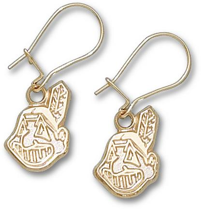 Cleveland Indians 9/16in Chief Wahoo Dangle Earrings - 10KT Gold Jewelry