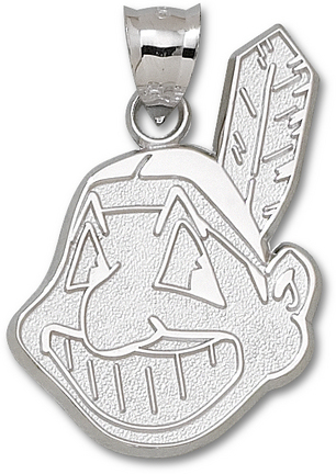 Cleveland Indians Giant 1 1/4in W x 1 7/8in H 'Chief Wahoo' Pendant - Sterling Silver Jewelry