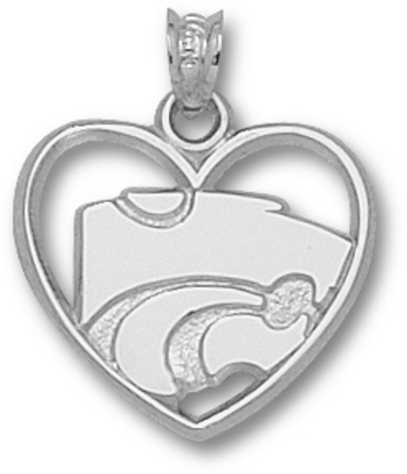 Kansas State Wildcats Power Cat Heart Pendant Sterling Silver Jewelry