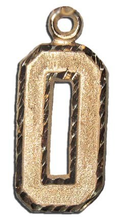 Large 3/4 Single Number Diamond Cut Pendant - 14KT Gold Jewelry